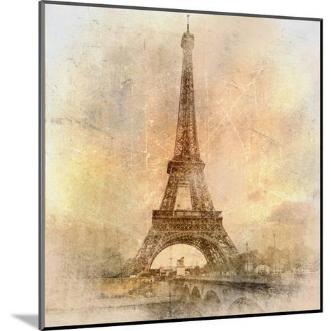 Retro Styled Background - Eiffel Tower-Maugli-l-Mounted Art Print