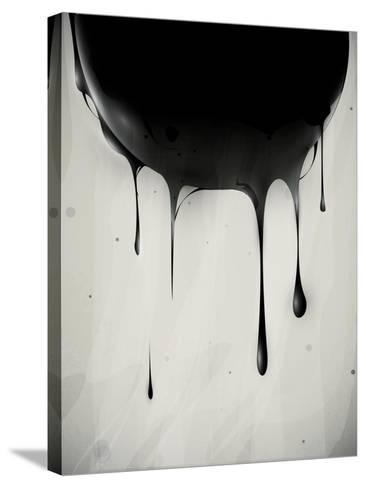 Abstract Oil Slick Flows With Drops-fet-Stretched Canvas Print