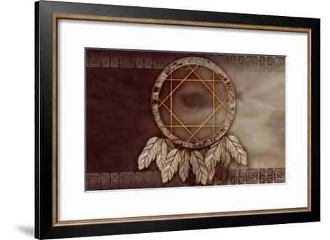 American Dreamcatcher With Wolf Eye-Sateda-Framed Art Print