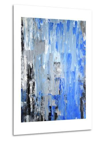 Blue And Grey Abstract Art Painting-T30Gallery-Metal Print