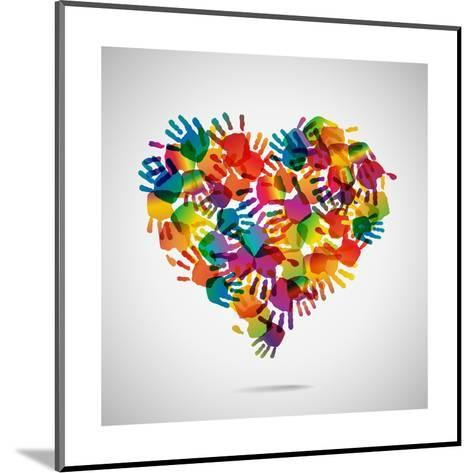 Colored Heart From Hand Print Icons-strejman-Mounted Art Print