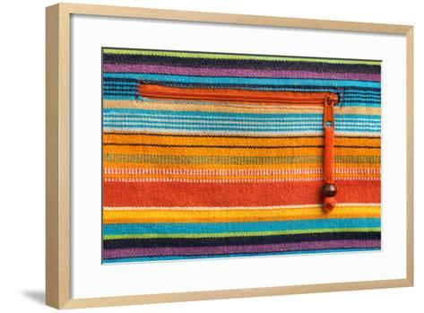 Colorful Fabric Texture With Zipper-Ultrapro-Framed Art Print