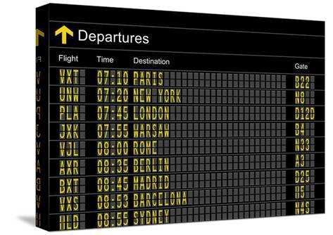 Airport Departures Board-z_i_b_i-Stretched Canvas Print
