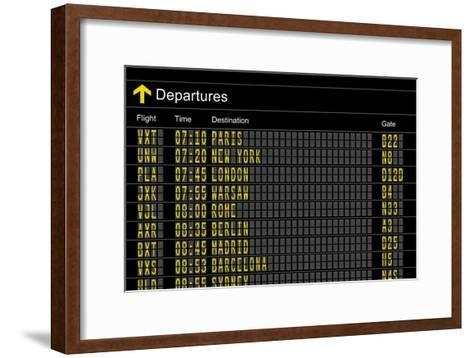 Airport Departures Board-z_i_b_i-Framed Art Print