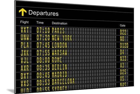 Airport Departures Board-z_i_b_i-Mounted Art Print