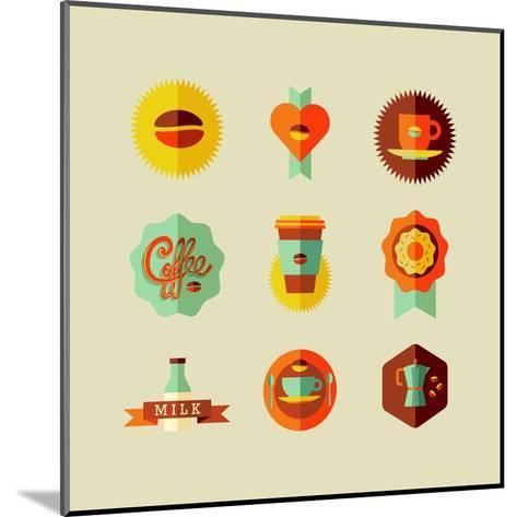 Coffee Shop Icons-cienpies-Mounted Art Print