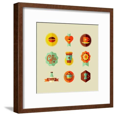 Coffee Shop Icons-cienpies-Framed Art Print