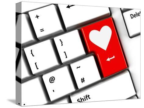 Computer Keyboard Love-Oakozhan-Stretched Canvas Print