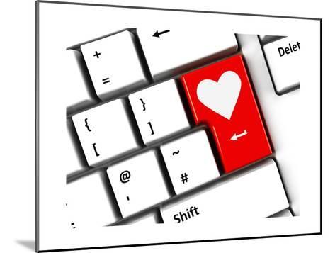 Computer Keyboard Love-Oakozhan-Mounted Art Print