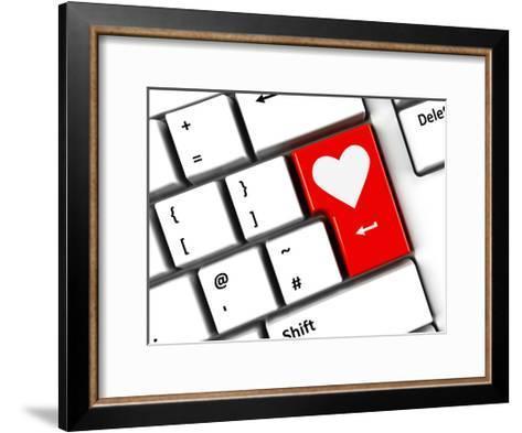Computer Keyboard Love-Oakozhan-Framed Art Print