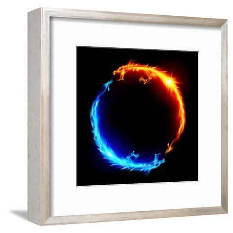Blue And Red Fire Dragons-dvarg-Framed Art Print