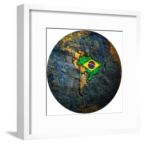 Brazil Flag On Globe Map-michal812-Framed Art Print