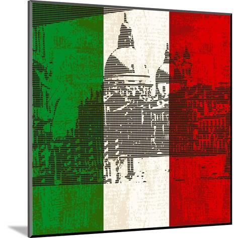 Italian Flag And Venice-Petrafler-Mounted Art Print