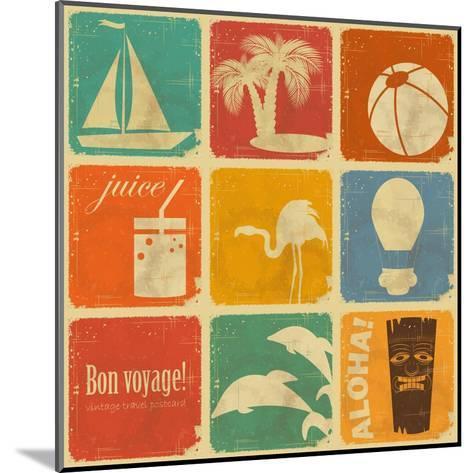 Set Of Vintage Travel Labels-elfivetrov-Mounted Art Print