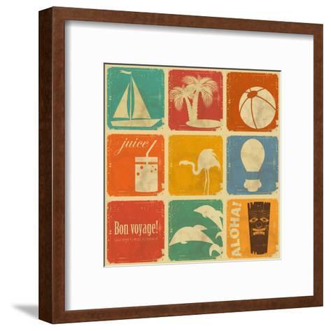 Set Of Vintage Travel Labels-elfivetrov-Framed Art Print