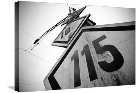 Speed Limit Railway Signpost-ABB Photo-Stretched Canvas Print