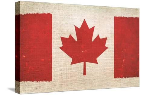 Canada Flag On Canvas-duallogic-Stretched Canvas Print