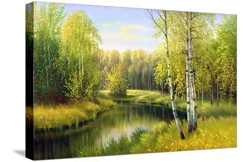 The Wood River In Autumn Day-balaikin2009-Stretched Canvas Print