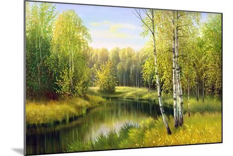 The Wood River In Autumn Day-balaikin2009-Mounted Art Print
