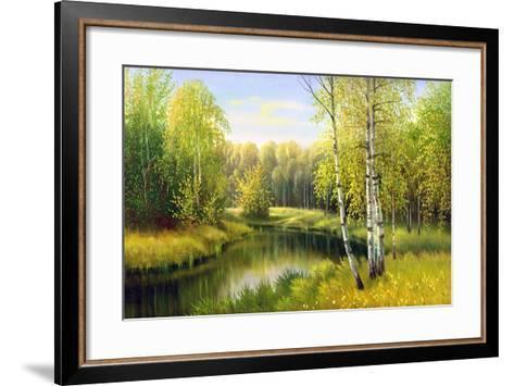 The Wood River In Autumn Day-balaikin2009-Framed Art Print