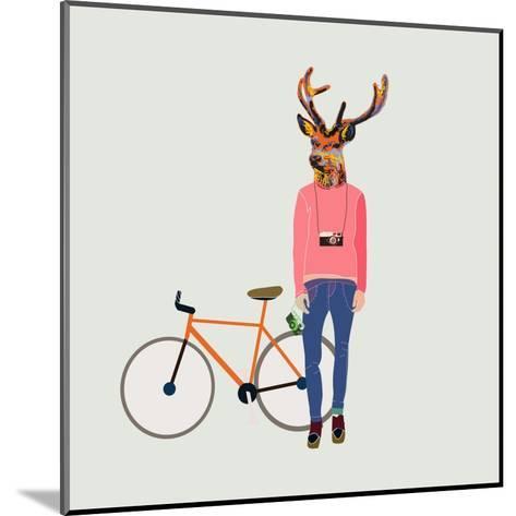 Fashionable Hipster Deer-run4it-Mounted Art Print