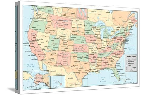 United States Of America Map- rook-Stretched Canvas Print