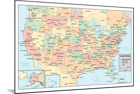 United States Of America Map- rook-Mounted Art Print