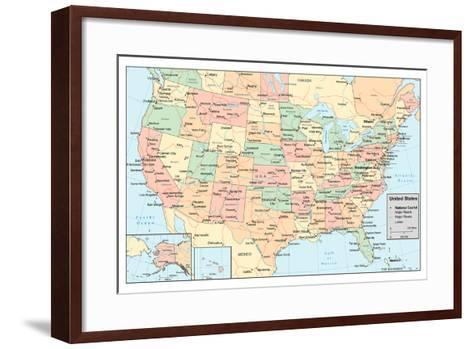 United States Of America Map- rook-Framed Art Print