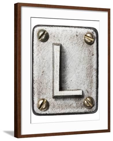 Old Metal Alphabet Letter L-donatas1205-Framed Art Print