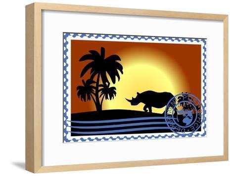 Postage Stamp. Savannah- GUARDING-OWO-Framed Art Print