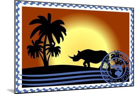 Postage Stamp. Savannah- GUARDING-OWO-Mounted Art Print
