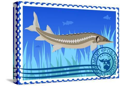 Postage Stamp. Sturgeon- GUARDING-OWO-Stretched Canvas Print