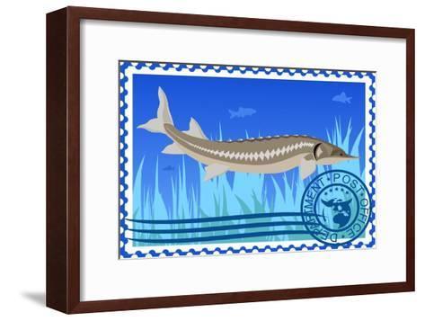 Postage Stamp. Sturgeon- GUARDING-OWO-Framed Art Print