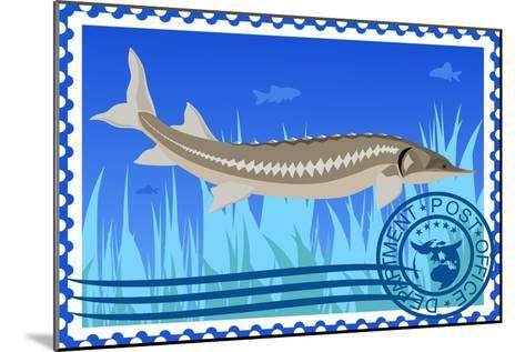 Postage Stamp. Sturgeon- GUARDING-OWO-Mounted Art Print
