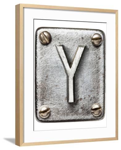 Old Metal Alphabet Letter Y-donatas1205-Framed Art Print