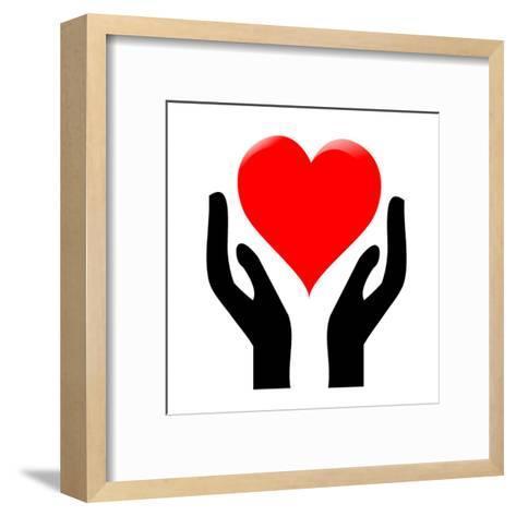 Hands Holding The Heart #1-kots-Framed Art Print