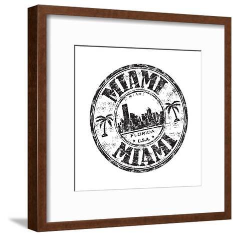 Miami Grunge Rubber Stamp-oxlock-Framed Art Print