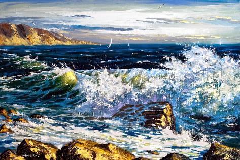 Storm Waves On Seacoast-balaikin2009-Stretched Canvas Print