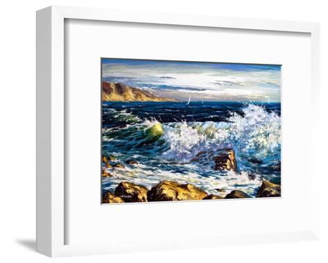 Storm Waves On Seacoast-balaikin2009-Framed Art Print