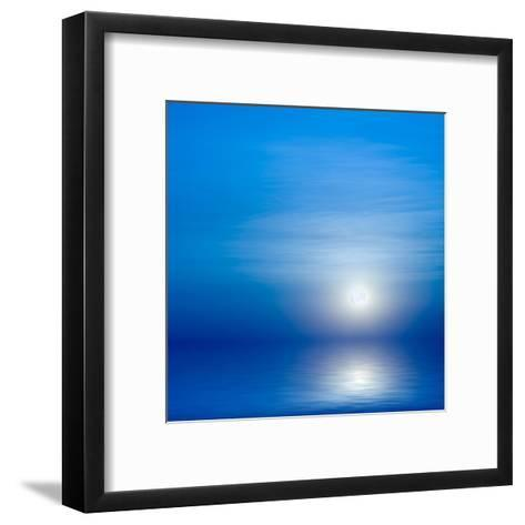 Moon, Sky And Blue Sea-alanuster-Framed Art Print