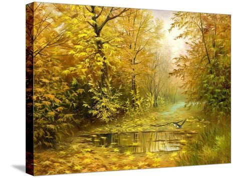 Pool On Road To Autumn Wood-balaikin2009-Stretched Canvas Print
