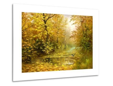 Pool On Road To Autumn Wood-balaikin2009-Metal Print