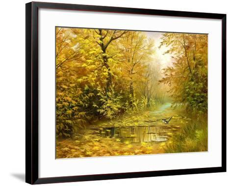 Pool On Road To Autumn Wood-balaikin2009-Framed Art Print