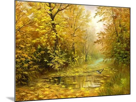 Pool On Road To Autumn Wood-balaikin2009-Mounted Art Print