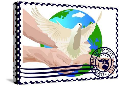 Postage Stamp. A White Dove- GUARDING-OWO-Stretched Canvas Print