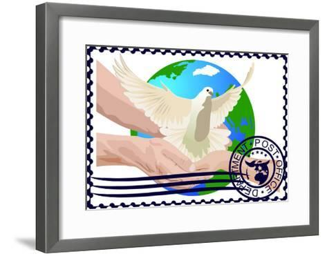 Postage Stamp. A White Dove- GUARDING-OWO-Framed Art Print