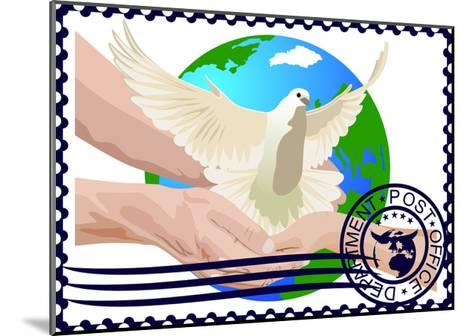 Postage Stamp. A White Dove- GUARDING-OWO-Mounted Art Print