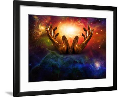 High Resolution Hands And Light-rolffimages-Framed Art Print