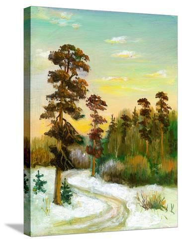 Landscape With Road To Winter Wood-balaikin2009-Stretched Canvas Print