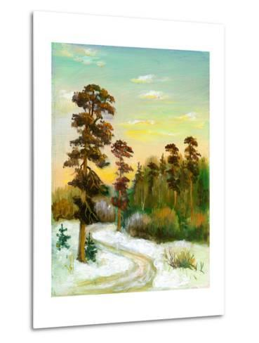 Landscape With Road To Winter Wood-balaikin2009-Metal Print